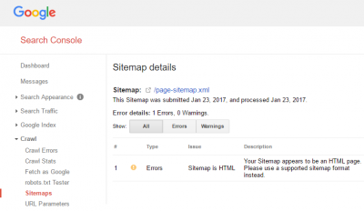 Please use a supported sitemap format instead